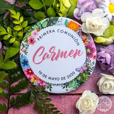 Recuerdo Primera Comunión flores alegres