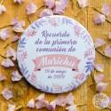 Recuerdo Primera Comunión hojas rosas